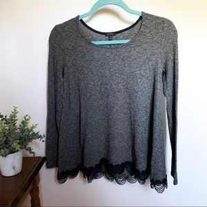 Long-Sleeve Top with Lace Trim